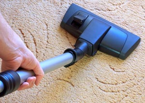 A carpet cleaning professional working in Indio